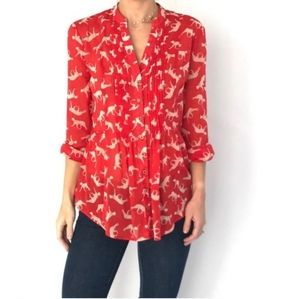 Maeve Anthropologie Sz 0 Red Cat Print Top Blouse
